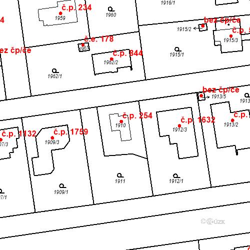 Katastrální mapa Stavební objekt Kunratice 254, Praha