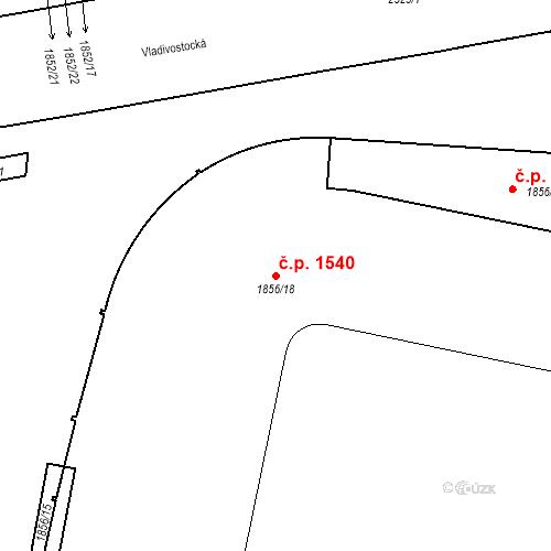 Katastrální mapa Stavební objekt Vršovice 1540, Praha