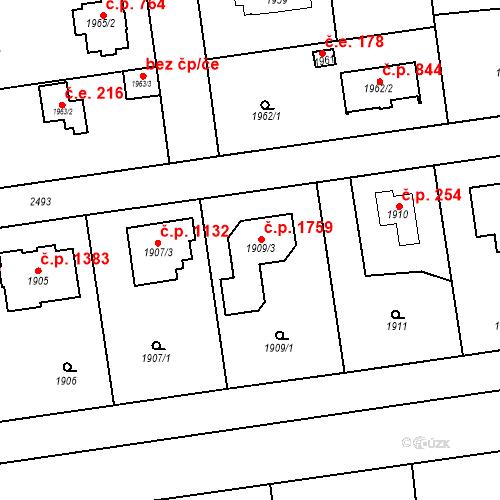 Katastrální mapa Stavební objekt Kunratice 1759, Praha