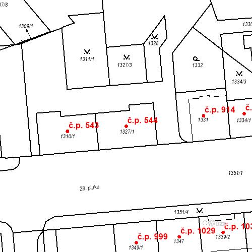 Katastrální mapa Stavební objekt Vršovice 544, Praha