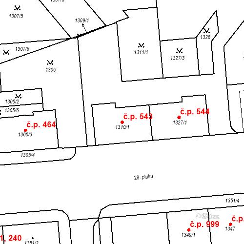 Katastrální mapa Stavební objekt Vršovice 543, Praha