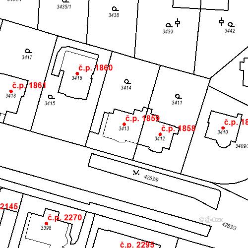 Katastrální mapa Stavební objekt Vinohrady 1859, Praha