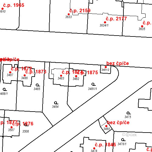 Katastrální mapa Stavební objekt Vinohrady 1875, Praha