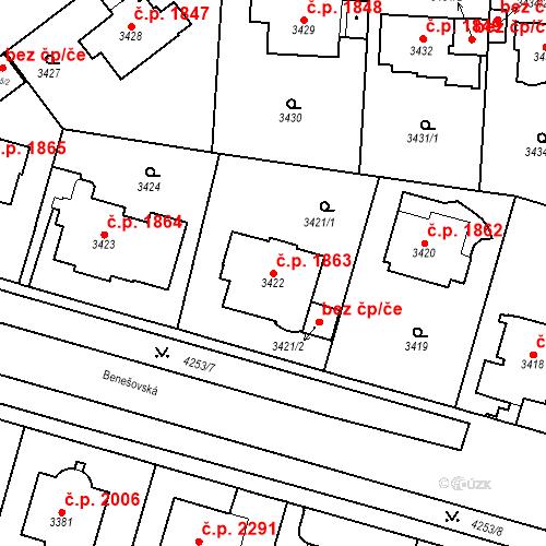 Katastrální mapa Stavební objekt Vinohrady 1863, Praha