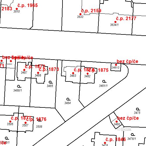 Katastrální mapa Stavební objekt Vinohrady 1874, Praha