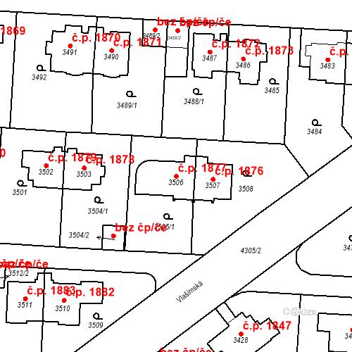 Katastrální mapa Stavební objekt Vinohrady 1877, Praha