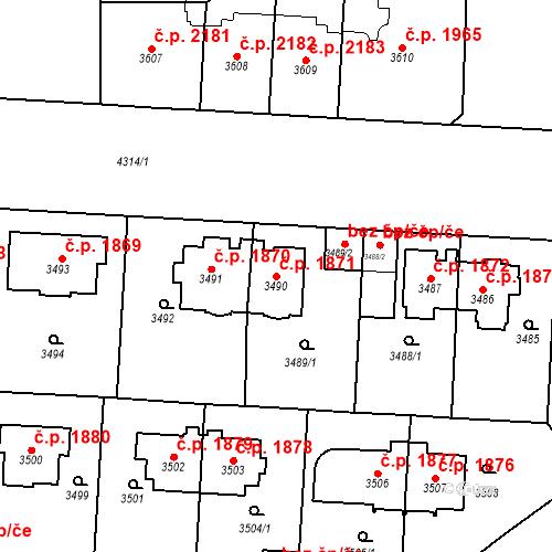 Katastrální mapa Stavební objekt Vinohrady 1871, Praha