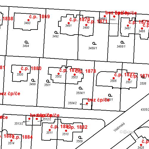 Katastrální mapa Stavební objekt Vinohrady 1878, Praha
