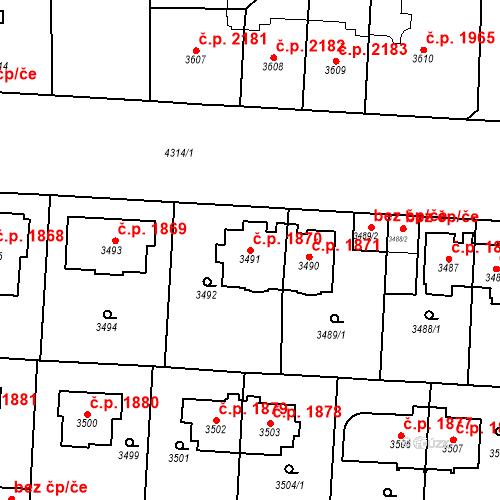 Katastrální mapa Stavební objekt Vinohrady 1870, Praha