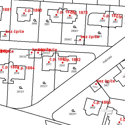 Katastrální mapa Stavební objekt Vinohrady 1882, Praha