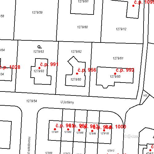 Katastrální mapa Stavební objekt Dolní Chabry 956, Praha