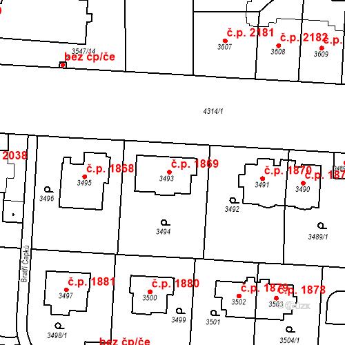 Katastrální mapa Stavební objekt Vinohrady 1869, Praha