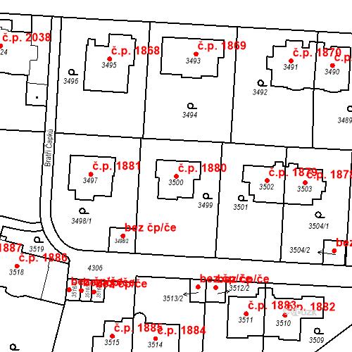 Katastrální mapa Stavební objekt Vinohrady 1880, Praha