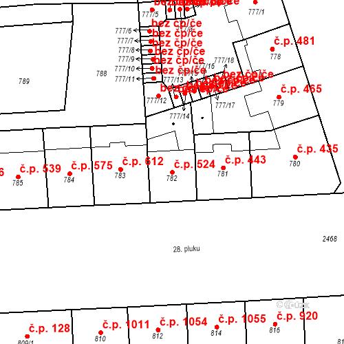 Katastrální mapa Stavební objekt Vršovice 524, Praha