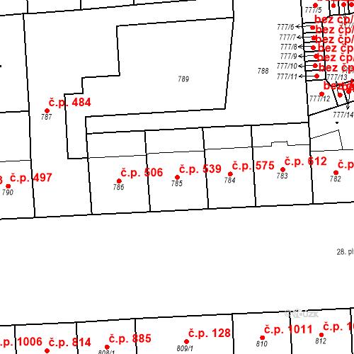 Katastrální mapa Stavební objekt Vršovice 539, Praha