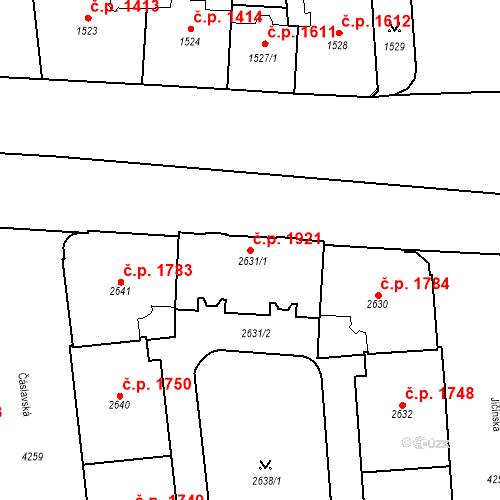 Katastrální mapa Stavební objekt Vinohrady 1921, Praha