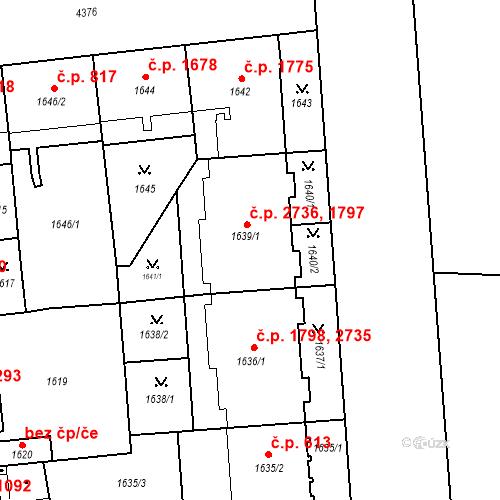 Katastrální mapa Stavební objekt Žižkov 1797, 2736, Praha