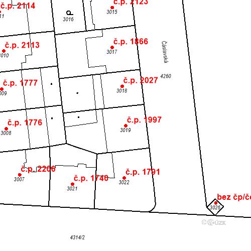 Katastrální mapa Stavební objekt Vinohrady 1997, Praha
