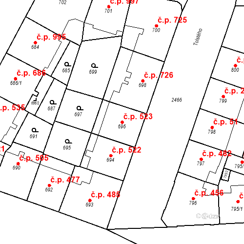 Katastrální mapa Stavební objekt Vršovice 523, Praha