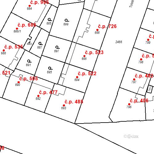 Katastrální mapa Stavební objekt Vršovice 522, Praha