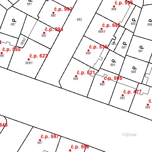 Katastrální mapa Stavební objekt Vršovice 521, Praha