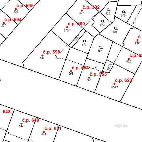 Katastrální mapa Stavební objekt Vršovice 554, Praha