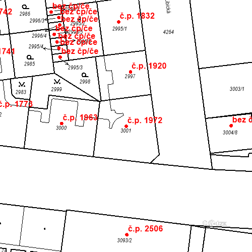 Katastrální mapa Stavební objekt Vinohrady 1972, Praha