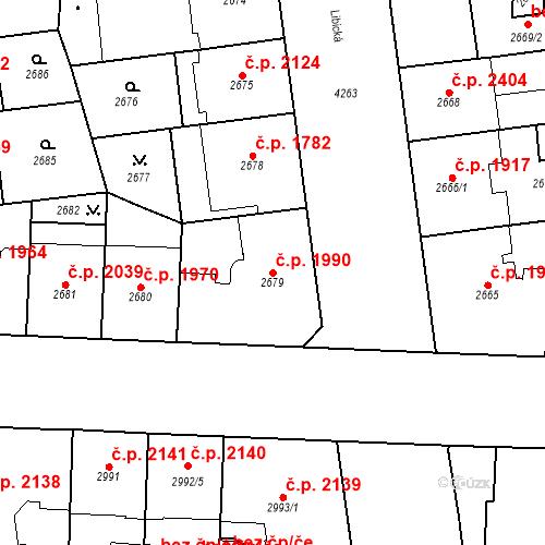 Katastrální mapa Stavební objekt Vinohrady 1990, Praha