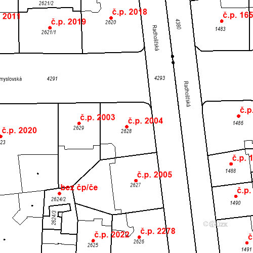 Katastrální mapa Stavební objekt Vinohrady 2004, Praha