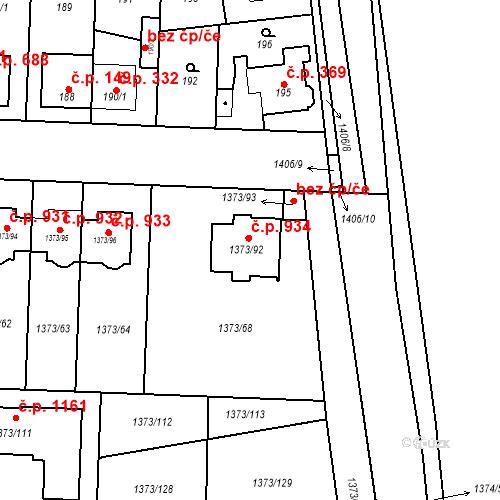 Katastrální mapa Stavební objekt Dolní Chabry 934, Praha