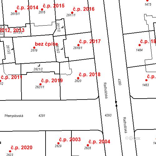 Katastrální mapa Stavební objekt Vinohrady 2018, Praha