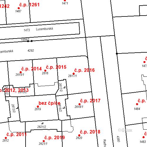 Katastrální mapa Stavební objekt Vinohrady 2016, Praha