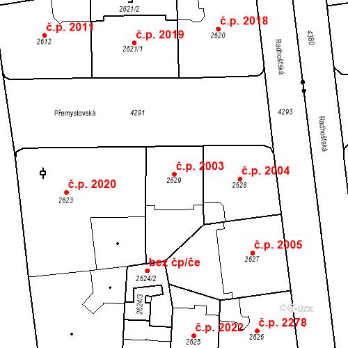 Katastrální mapa Stavební objekt Vinohrady 2003, Praha