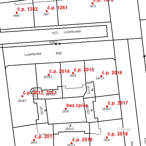 Katastrální mapa Stavební objekt Vinohrady 2015, Praha