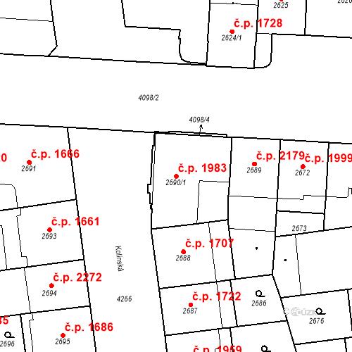 Katastrální mapa Stavební objekt Vinohrady 1983, Praha