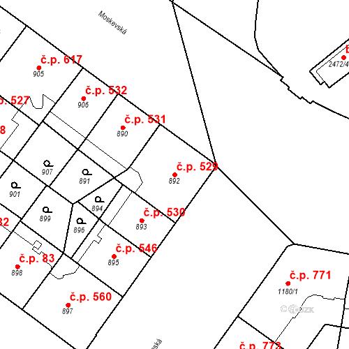 Katastrální mapa Stavební objekt Vršovice 529, Praha