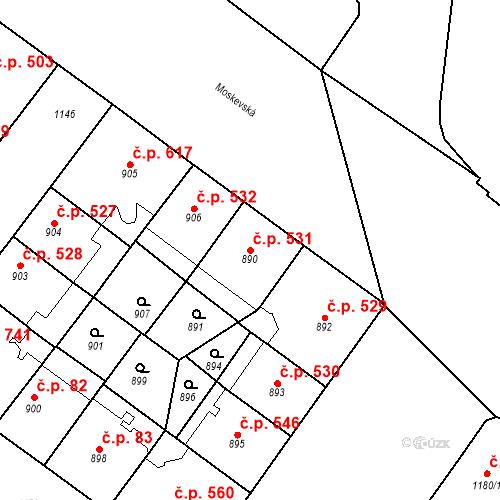 Katastrální mapa Stavební objekt Vršovice 531, Praha