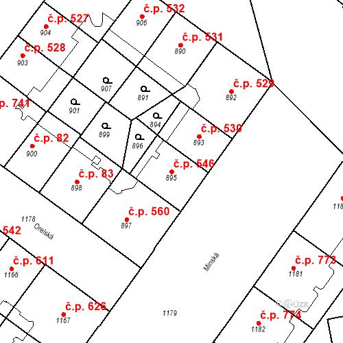 Katastrální mapa Stavební objekt Vršovice 546, Praha