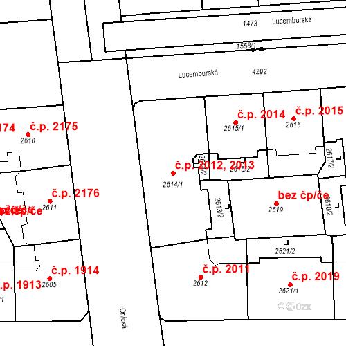 Katastrální mapa Stavební objekt Vinohrady 2012, 2013, Praha