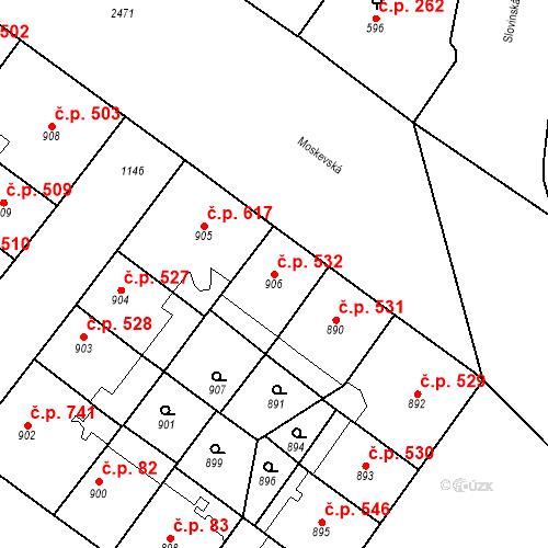 Katastrální mapa Stavební objekt Vršovice 532, Praha