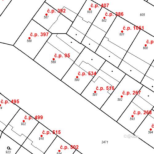 Katastrální mapa Stavební objekt Vršovice 534, Praha