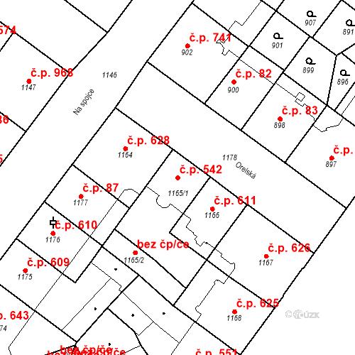 Katastrální mapa Stavební objekt Vršovice 542, Praha