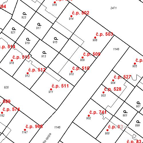 Katastrální mapa Stavební objekt Vršovice 510, Praha