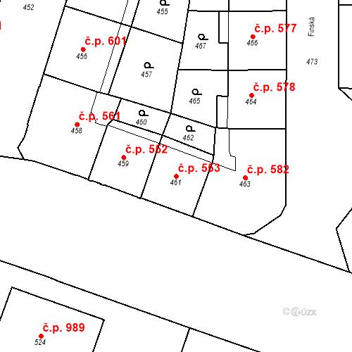 Katastrální mapa Stavební objekt Vršovice 553, Praha