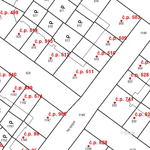 Katastrální mapa Stavební objekt Vršovice 511, Praha
