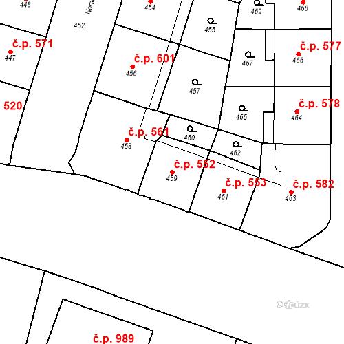 Katastrální mapa Stavební objekt Vršovice 552, Praha