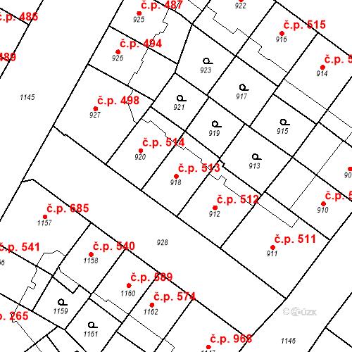 Katastrální mapa Stavební objekt Vršovice 513, Praha