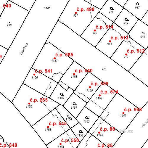 Katastrální mapa Stavební objekt Vršovice 540, Praha