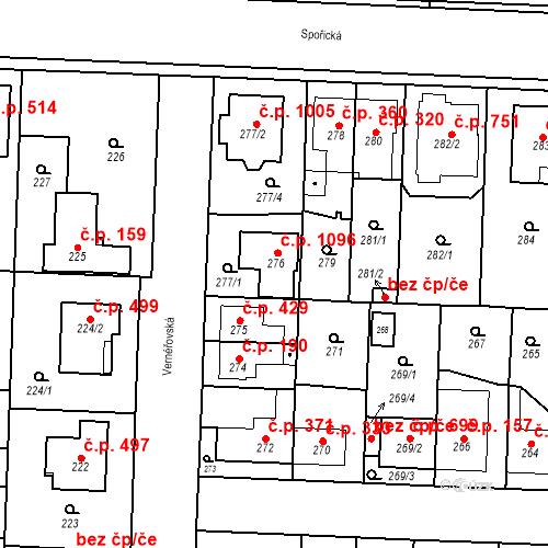 Katastrální mapa Stavební objekt Dolní Chabry 1096, Praha