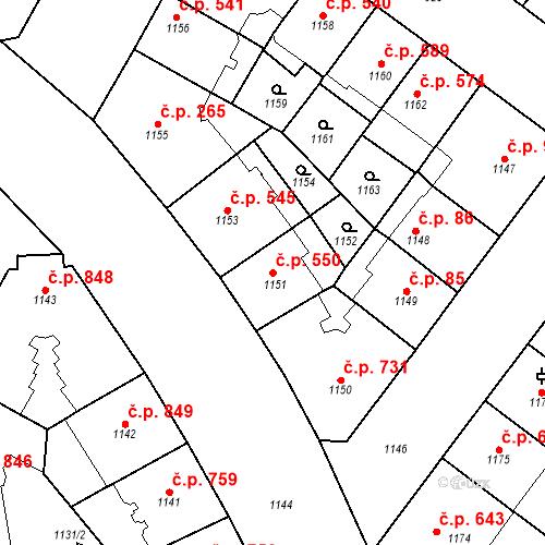 Katastrální mapa Stavební objekt Vršovice 550, Praha